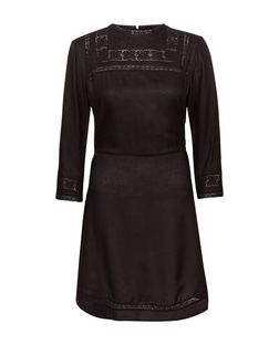 Black Lace Panel 3/4 Sleeve Dress  | New Look