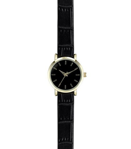 Black Croc Texture Strap Watch  | New Look