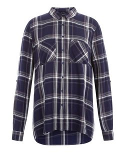Blue Check Dip Hem Long Sleeve Shirt  | New Look