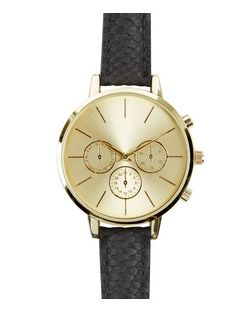 Black Croc Texture Strap Gold Face Watch  | New Look