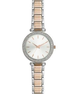 Silver and Rose Gold Diamante Sports Watch | New Look