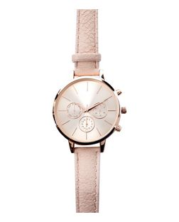 Pink Leather-Look Strap Mini Dial Watch  | New Look