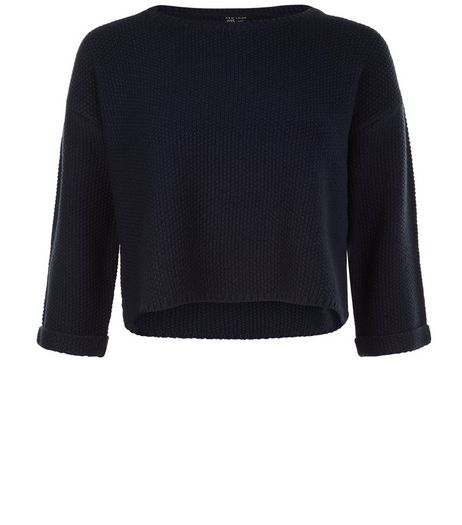 Teens Navy Textured Stitch Cropped Jumper  | New Look