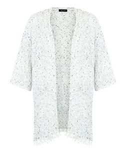White Twist Knit Fringed Kimono Cardigan  | New Look