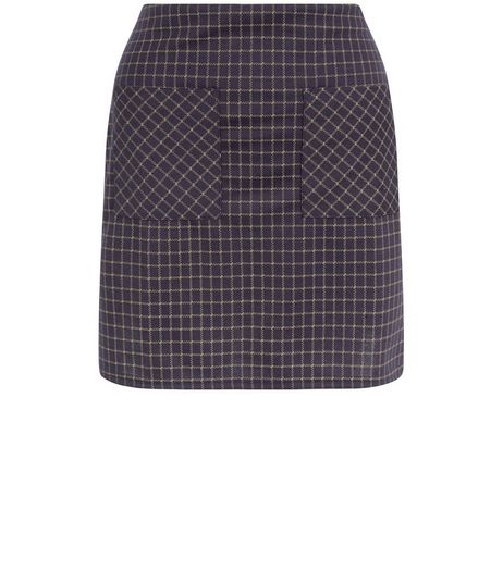 Blue Check Mini Tube Skirt | New Look