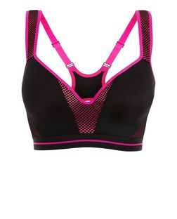 Black Contrast Underwired Sports Bra  | New Look
