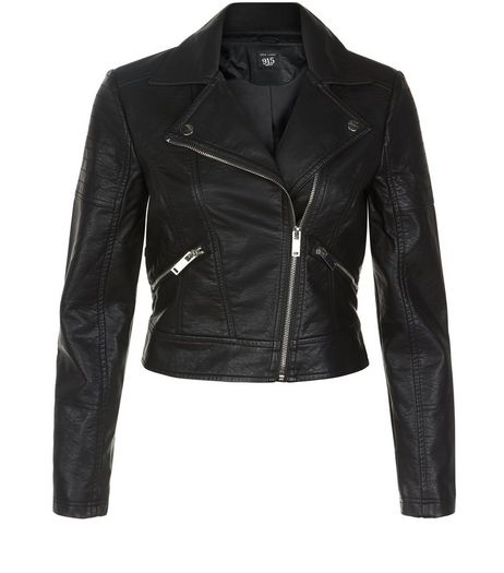 Teens Black Leather-Look Jacket  | New Look