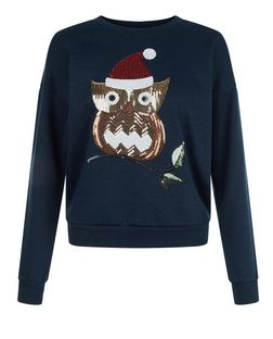 Teens Navy Sequin Owl Print Sweatshirt | New Look