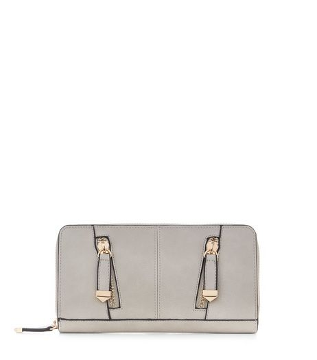 Light Grey Zip Front Purse  | New Look