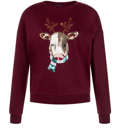 Teens Burgundy Sequin Reindeer Christmas Jumper | New Look