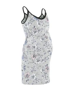 Maternity Grey Floral Print Nursing Chemise | New Look