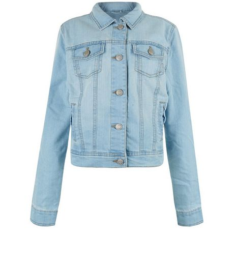 Teens Pale Blue Denim Double Pocket Jacket  | New Look
