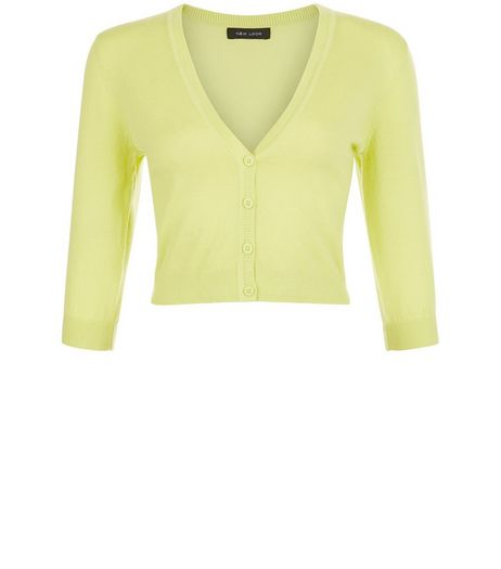 Lime Cropped Cardigan | New Look