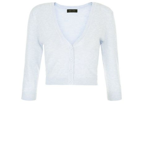 Pale Blue Cropped Cardigan | New Look