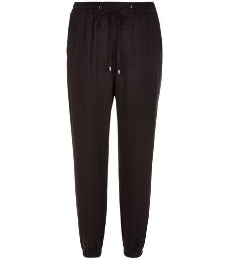 Black Viscose Joggers  | New Look