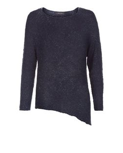 Navy Asymmetric Slub Jumper  | New Look