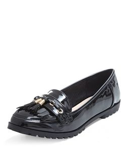 Teens Black Patent Fringe Loafers | New Look
