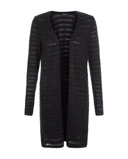 Black Ladder Pointelle Midi Cardigan  | New Look