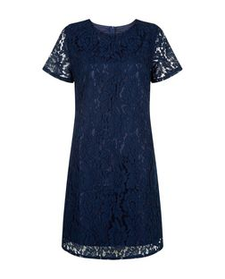 Pussycat Navy A-Line Lace Dress  | New Look