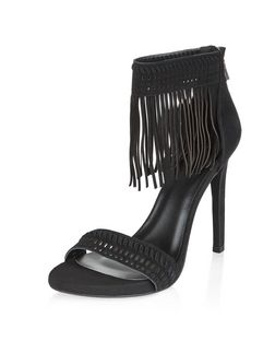 Black Suede Fringe Trim Heeled Sandals  | New Look