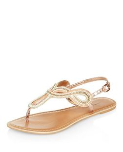 Coral Leather Beaded Twist Strap Sandals  | New Look