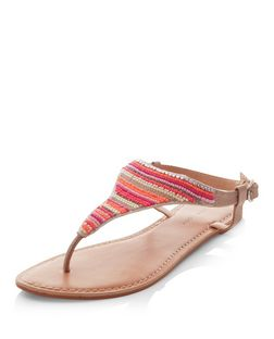Tan Leather Stripe Beaded Sandals | New Look