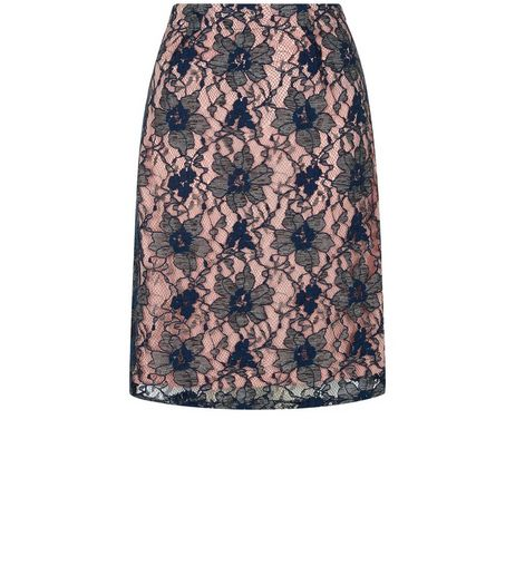 Pussycat Navy 2 Tone Lace Skirt  | New Look