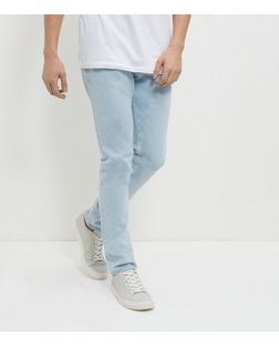Pale Blue Bleached Slim Fit Jeans  | New Look