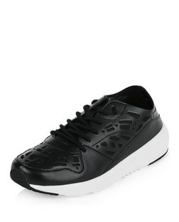 Black Laser Cut Out Trainers  | New Look