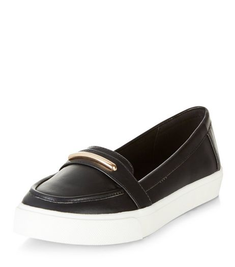 Black Loafer Slip On Plimsolls  | New Look