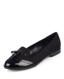 Black Patent Panel Tassel Front Loafers  | New Look