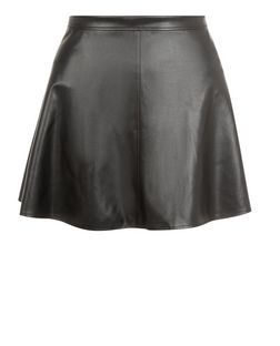 Petite Black Leather-Look Skater Skirt  | New Look