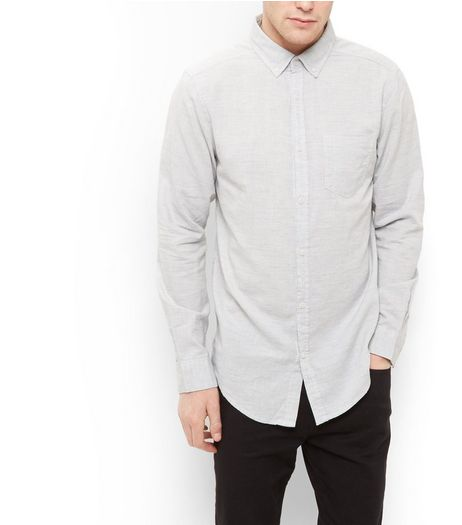 Grey Single Pocket Slub Long Sleeve Shirt  | New Look