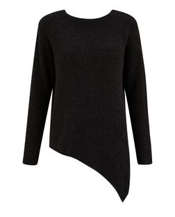 Black Boucle Knit Asymmetric Jumper  | New Look