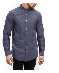 Navy Twill Single Pocket Long Sleeve Shirt  | New Look