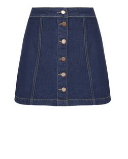 Petite Navy Button Front Denim Skirt  | New Look