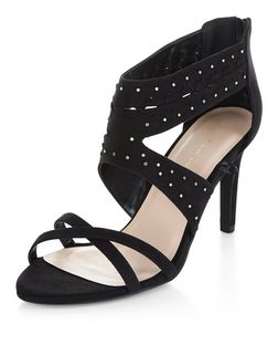 Wide Fit Black Pin Stud Cut Out Heels  | New Look