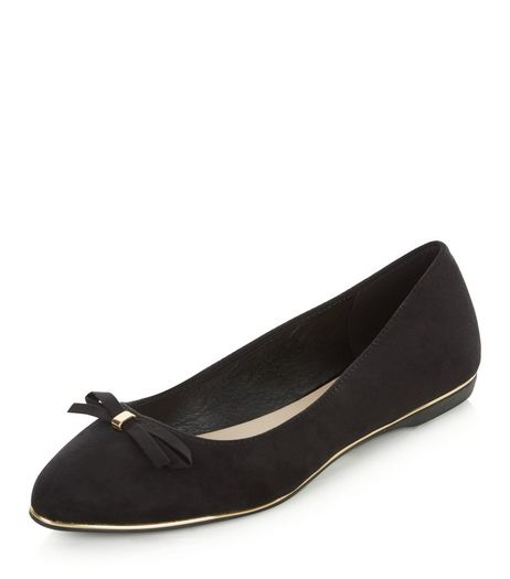 Wide Fit Black Suedette Bow Front Ballet Pumps  | New Look