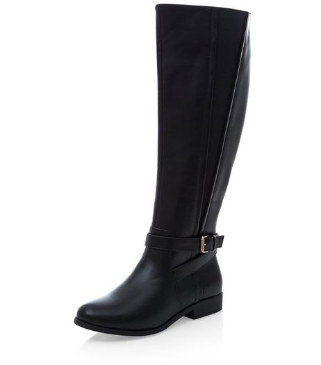 Black Elasticated Side Riding Boots  | New Look