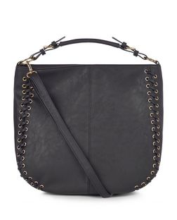 Black Stitch Trim Shoulder Bag  | New Look