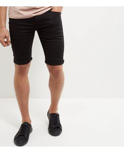 Black Turn Up Denim Shorts  | New Look