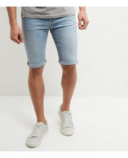 Pale Blue Bleached Turn Up Skinny Denim Shorts  | New Look