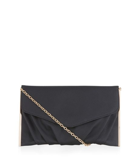 Black Textured Metal Bar Trim Clutch  | New Look