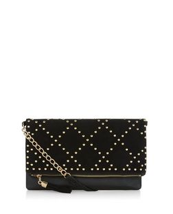 Black Cross Stud Fold Over Clutch  | New Look