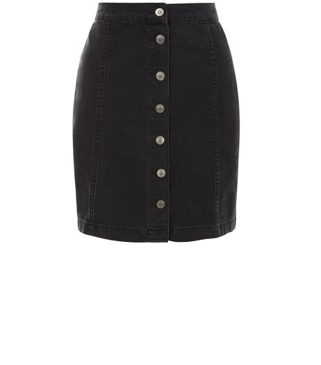 Tall Black Button Front Denim Skirt  | New Look