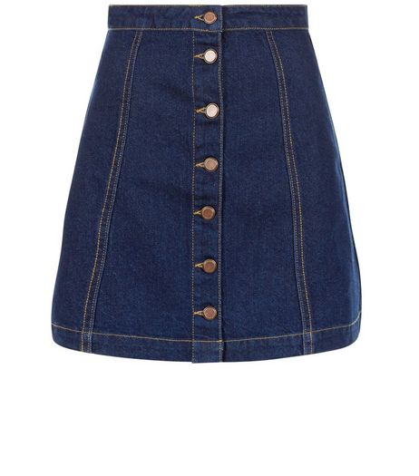 Tall Navy Button Front Denim Skirt  | New Look
