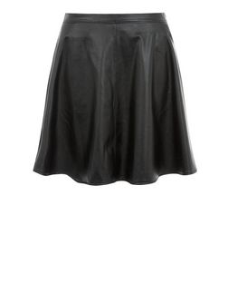 Tall Black Leather-Look Skater Skirt  | New Look