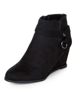 Teens Black Suedette Wedged Shoe Boots  | New Look