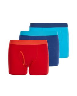 3 Pack Red and Blue Contrast Boxer Shorts  | New Look