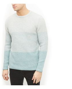 Mint Green Ombre Roll Hem Jumper  | New Look